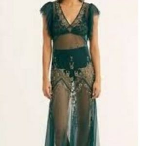 Free people annabelle sheer maxi beaded dress